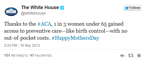 happy mothers day from obama birth control