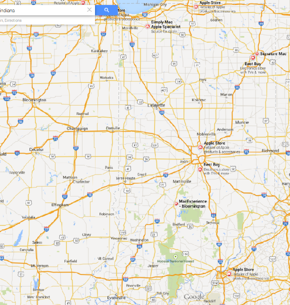 Google shows 2 Apple stores, a couple of Mac stores and Best Buys in Indiana