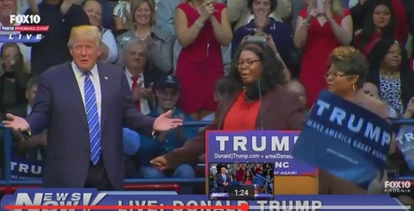 Donald Trump meets  Lynette Hardaway and Rochelle Richardson